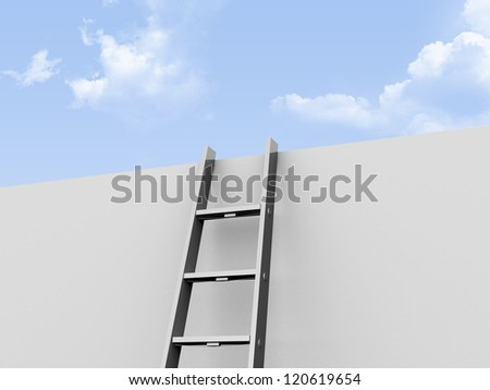 Metallic step ladder leaned against wall and clear, cloudy weather. - stock photo