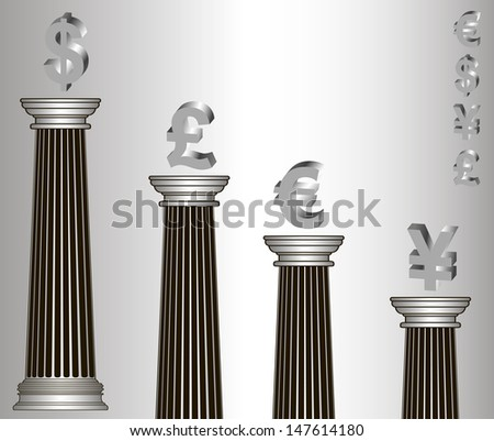 metallic-style greece column with popular currency, U.S. dollar, Euro, British Pound, the Yen - stock photo