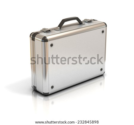 metallic suitcase briefcase isolated on white