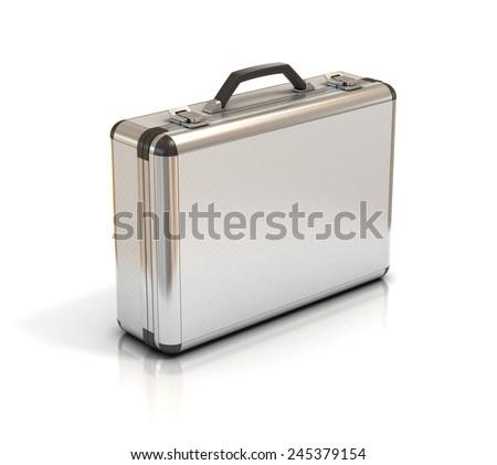 metallic suitcase briefcase isolated on white - stock photo