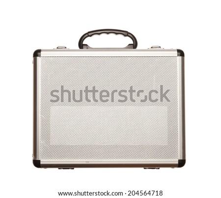 Metallic suitcase isolated on white background - stock photo