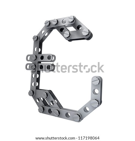 Metallic symbol of British pound currency with rivets and screws isolated on white background 3d render high resolution