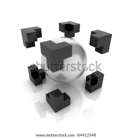 Metallic symbol with sphere inside cube (main element) - stock photo