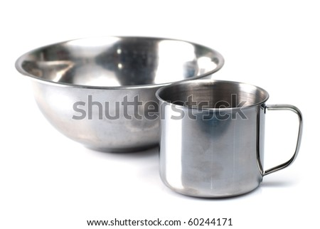 metallic tableware isolated on white background
