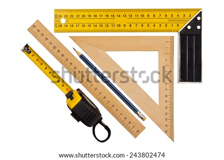 Metallic tool to measure right angle, triangle and wooden ruler, pencil and tape measure on a white background - stock photo