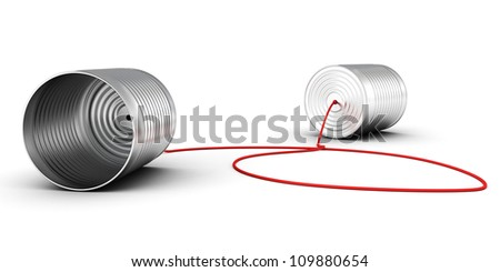 metallic toy can phone on white background - stock photo