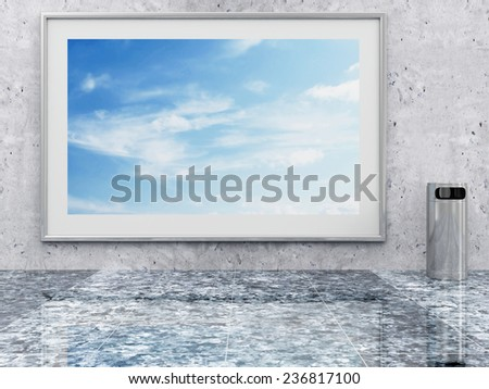 Metallic Trash Bin with Picture near the Concrete Wall in Empty Hall Interior. 3D Rendering - stock photo