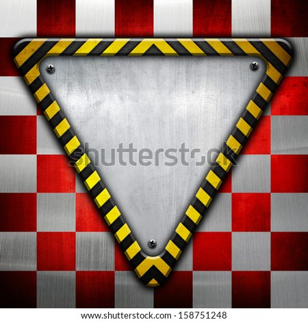 metallic triangle plate with warning sign