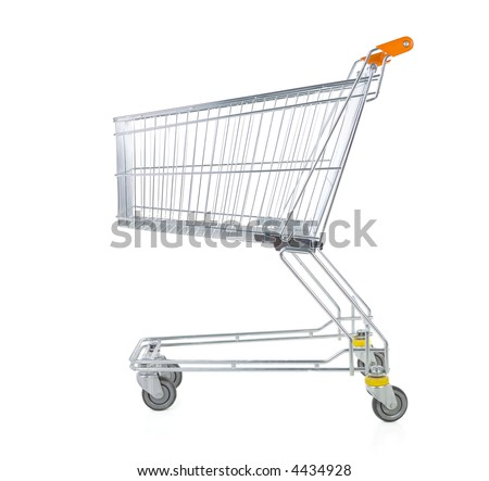 Metallic trolley isolated on white in studio. Side view