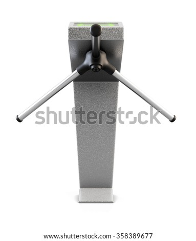 Metallic turnstile isolated on white background. Front view. 3d render.