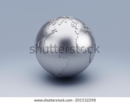 metallic world globe 3d - stock photo