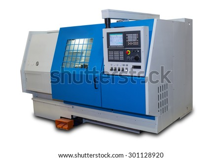 Metalworking lathe with a protective casing isolated on white background  - stock photo