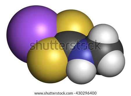 Metam sodium pesticide molecule. 3D rendering. Atoms are represented as spheres with conventional color coding: hydrogen (white), carbon (grey), nitrogen (blue), sulfur (yellow), sodium (purple). - stock photo