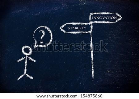 metaphor humour design on blackboard, innovation vs stability - stock photo