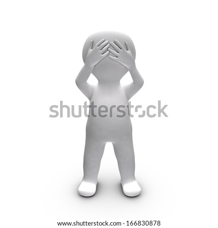 Metaphor of a person who chooses to ignore what he sees - stock photo