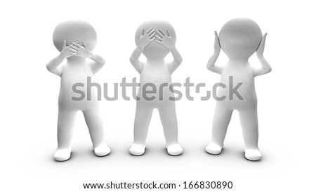 Metaphor of persons who choose not to speak, ear and see. This illustration refers to the three monkeys pictorial maxim. - stock photo