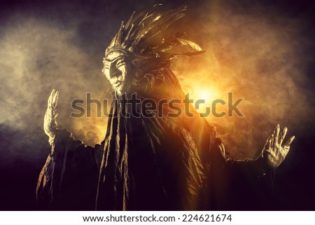 Metaphorical idea of the sun. Folklore. Paganism, worship of the sun. - stock photo