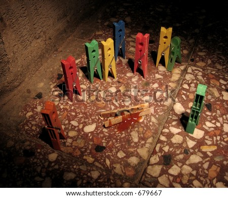 Metaphorical scenario of a public crime using clamps - stock photo