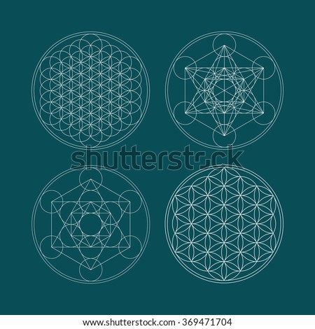 Metatrons Cube and Flower of life. - stock photo
