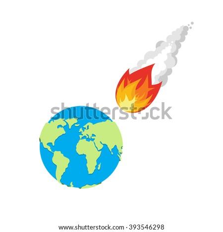 Meteor and Earth. Fireball flies on planet Earth. Approaching catastrophe. Fiery Comet and planet. Coming end of the world. Danger for  Earth - stock photo