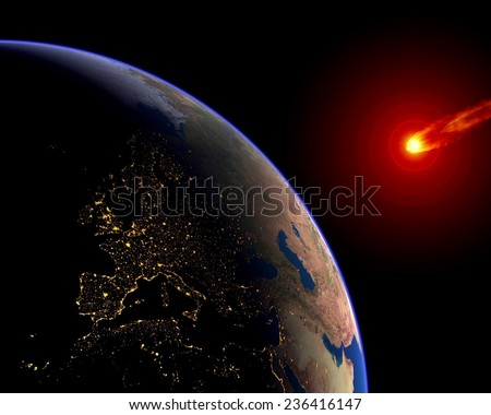 Meteor asteroid Earth impact crisis Europe. Elements of this image furnished by NASA.