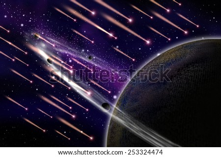 Meteor attack the asteroid illustration - stock photo