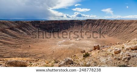 Meteor Crater in Arizona, panoramic view - stock photo
