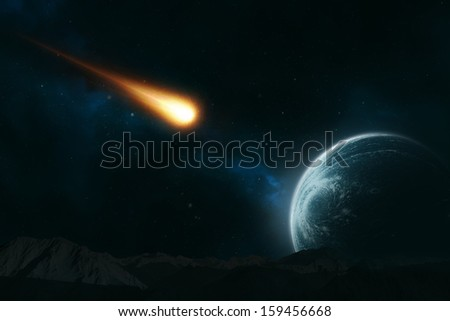 Meteor hurling toward a planet - stock photo