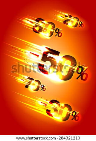 Meteor rain discounts, sale background, rasterized version. - stock photo