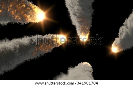 meteor rains with smoke tails - stock photo
