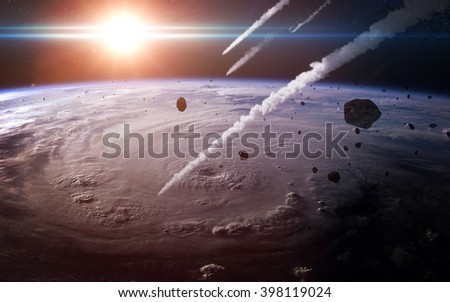 Meteor shower in the Earth's atmosphere. Elements of this image furnished by NASA - stock photo
