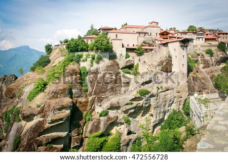 METEORA, GREECE - JUNE 28, 2015: Holy Monastery of Grand Meteoron at Meteora, northern Greece. The amazing Grand Meteoron stands proud on the highest and largest rock in Meteora.