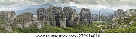 Meteora in Greece. Meteora is the monasteries on the top of the rock towers. - stock photo