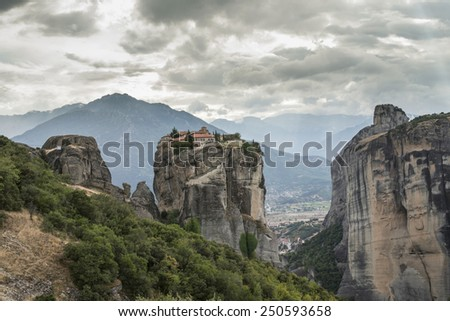 Meteora in Greece. Meteora is the monasteries on the top of the rock towers. Greece, Meteora - stock photo