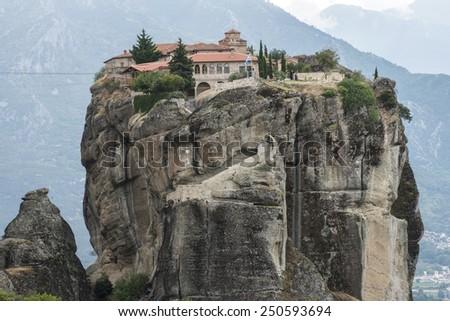 Meteora in Greece. Meteora is the monasteries on the top of the rock towers. Greece, Meteora - stock photo