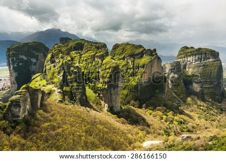 Meteora landscapes in Greece - stock photo