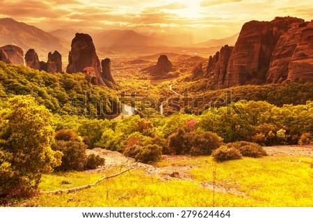 Meteora monasteries in Greece. - stock photo