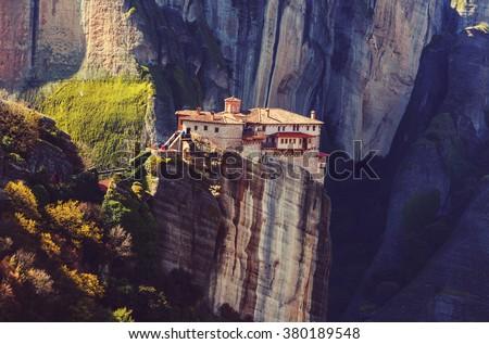 Meteora monasteries in Greece. Instagram filter. - stock photo