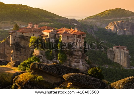 Meteora monasteries, the Holy Monastery of Varlaam at foreground, Greece - stock photo