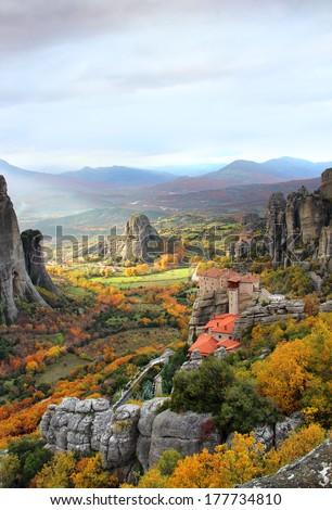 Meteora Rocks and Roussanou Monastery, Greece - stock photo
