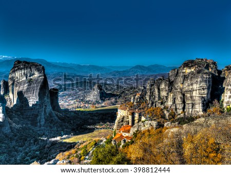 Meteora rocks with really old monasteries near Kalabaka town in Greece - stock photo