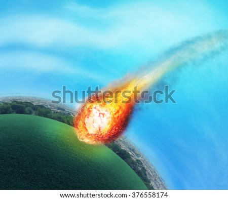 Meteorite near the Earth - stock photo