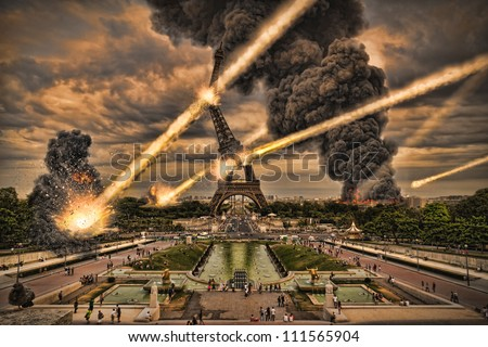 Meteorite shower over paris, destroying the Eiffel Tower - stock photo