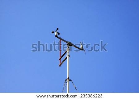 Meteorological equipment anemometer, closeup of photo