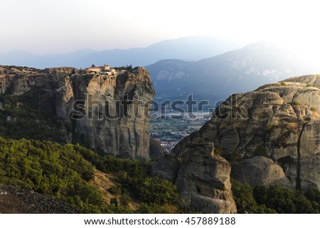 Meteors monasteries in Greece in high mountains on the sunset, background - stock photo