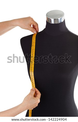 Meter and mannequin isolated on the white - stock photo