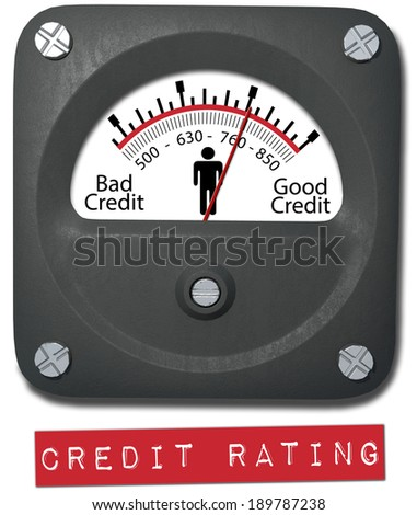 Meter measures good credit rating of consumer person - stock photo