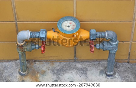 meter of the water and metal pipes , Format Thailand - stock photo