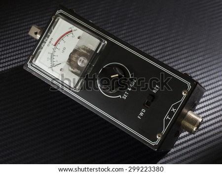 Meter used to measure standing wave ratio on two way radios - stock photo