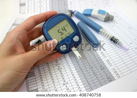 Meter with normal blood glucose levels in a female hand